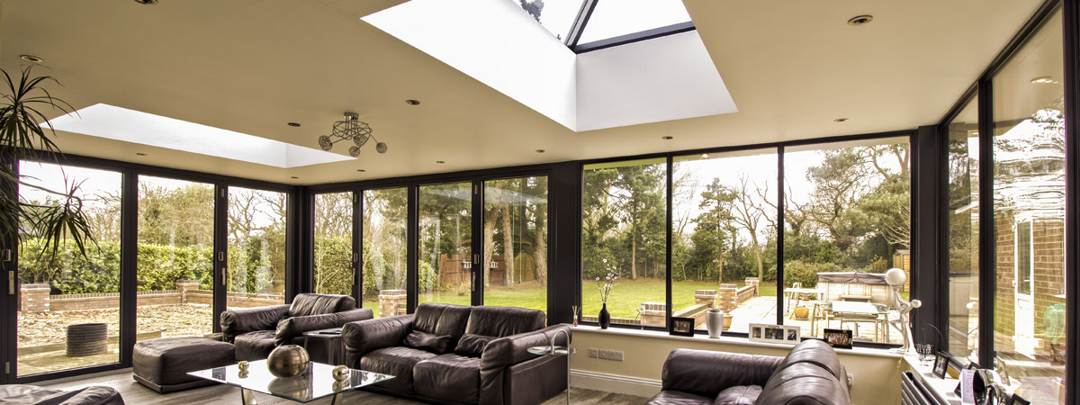 Installation of dual roof lights in this modern Orangery, Bebington, Wirral.
