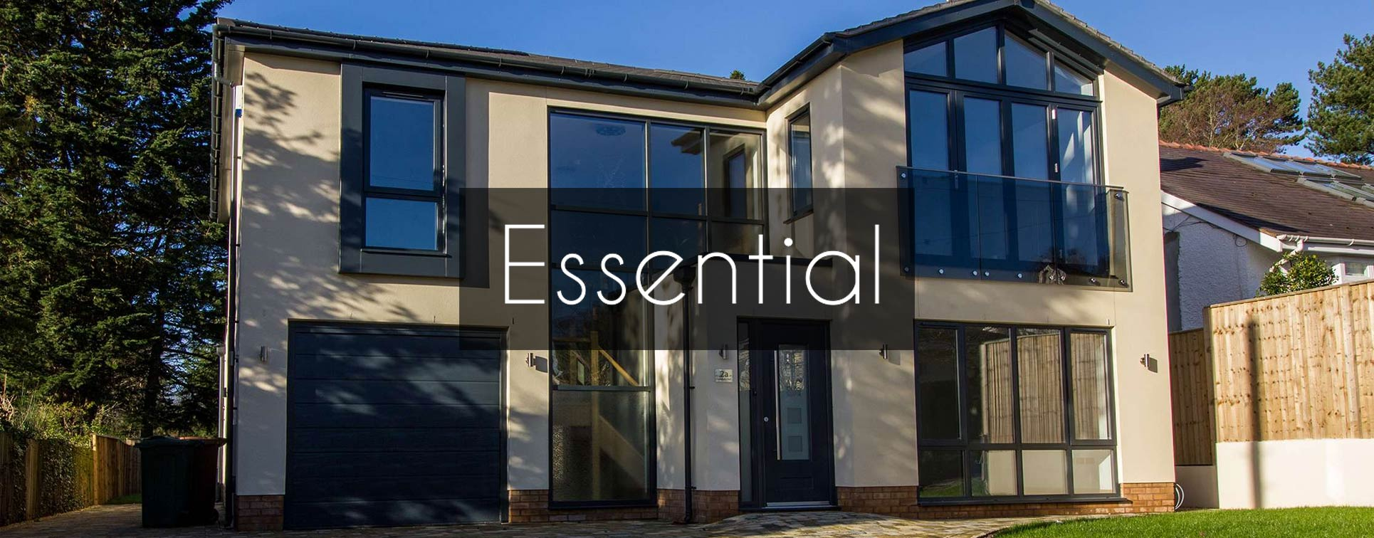 New build property featuring installation of Essential aluminium windows and bifold doors.