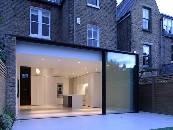 Panaromah slimline sliding doors installed in London W5. The panaromah system has no dimentional Constraints measuring the static Limitations of the Glass. Triple or Double glazed . The award winning system passes Stringent Thermal Installtion and excell