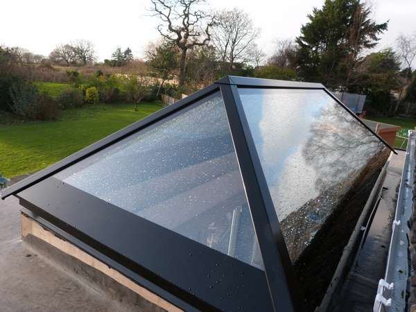 Aluminium rooflight from Roofmaker, very stylish and lets a large amount of light in to the room.