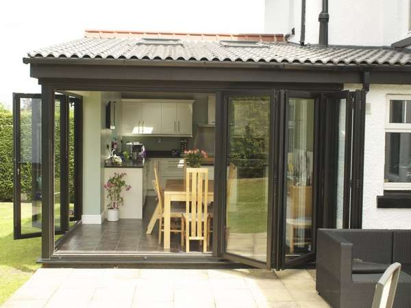 HESWALL WIRRAL : Installation of slimfold A10 Aluminium Bi Fold doors - Double glazed - Matt finish Ral 9017