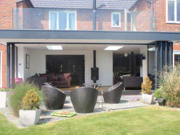 Caldy wirral : Design and Build inc S 4000 Marine Finish PP Coated Aluminium Bi Fold doors double glazed with Hytherm double glazed units: Centor C1 44mm triple glazed Bi fold doors
