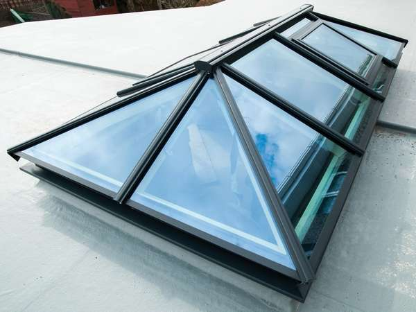 Mold North Wales : Installation of our ATS Slim line Thermally Broken Roof lantern Triple Glazed with 44mm triple glazed units U vale .6 glass